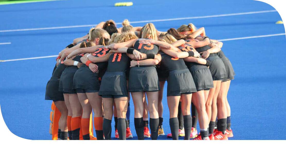 Hockey Team in a huddle